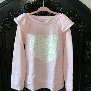 H&M soft pink flutter shoulder sweatshirt